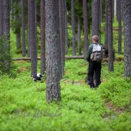 Ung man med hund i blåbärsskog, Uppland. Foto: Mats Wilhelm / Naturfotograferna / IBL Bildbyrå.